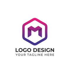 Modern m with hexagon logo design templates vector