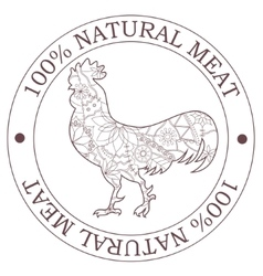Natural meat stamp with cock vector image