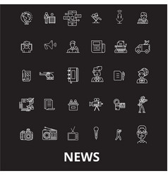 news editable line icons set on black vector image
