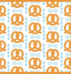 oktoberfest seamless pattern with pretzel vector image