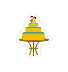 Paper sticker on white background wedding cake vector