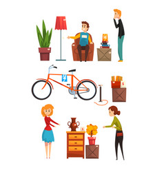 People buying and selling items at a garage sale vector