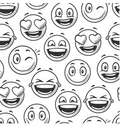 positive smiling faces background emoticons vector image