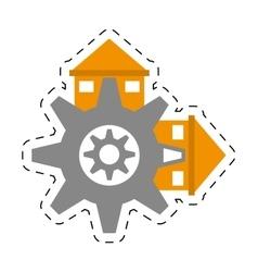 Real estate gear symbol cut line vector