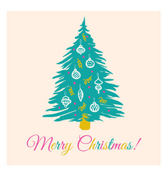 Retro card with christmas tree vector