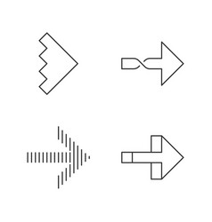 rightward arrows linear icons set twisted notched vector image