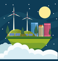 Save world environmental poster with eco city vector