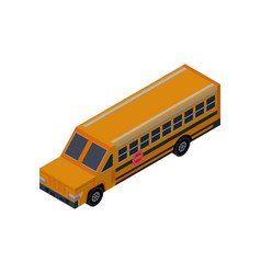 school bus isometric 3d element vector image