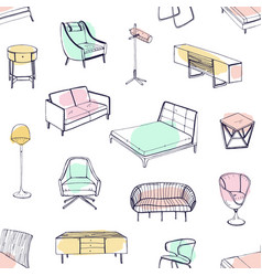 seamless pattern with various cozy furniture drawn vector image