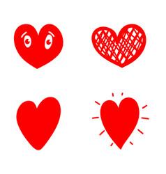 set doodle hearts design element for poster vector image