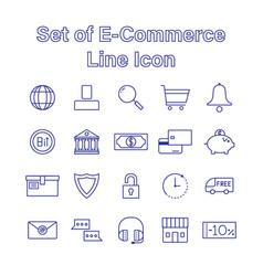 Set e-commerce line icon editable stroke vector