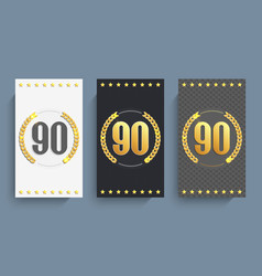 set of 90th anniversary cards template vector image