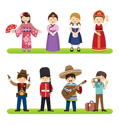 Set of international people isolated vector