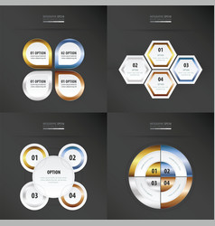 Set of presentation design gold bronze silver vector