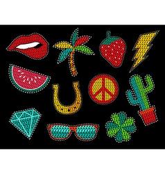 Set of sequin pop art summer patch icons vector