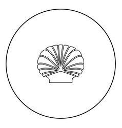 Shell black icon in circle outline vector