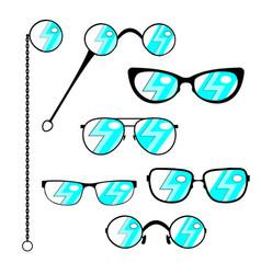Silhouette eyeglasses set frames to modern or vector