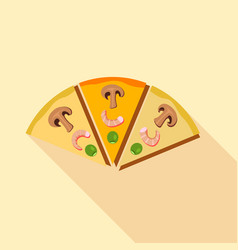 Slices of pizza with champignons mushrooms icon vector