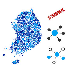 South korea map connections mosaic vector