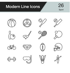 sport icons modern line design set 26 for vector image
