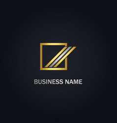 square abstract shape line company gold logo vector image