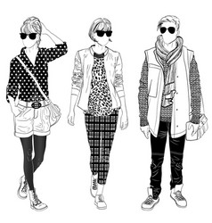 stylish male and female street fashion vector image