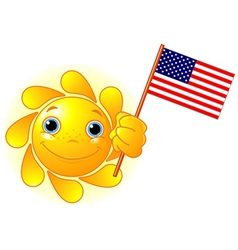 Summer Sun with American flag vector image