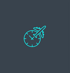 time to travel concept blue line icon simple thin vector image