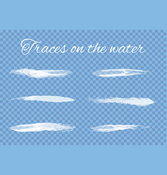 traces on water splashes set transparent vector image