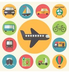Transportation icons set flat design vector image