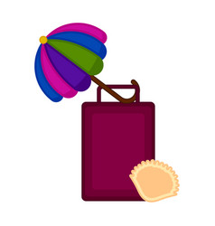 travel suitcase with an umbrella and a seashell vector image