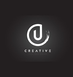U circular letter logo with circle brush design vector