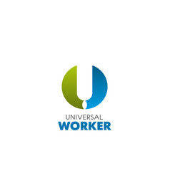 u letter icon for universal worker vector image