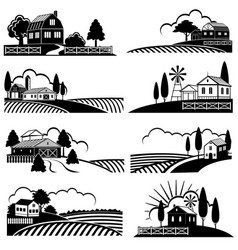 Vintage countryside landscape with farm scene vector