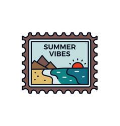 Vintage summer vibes logo adventure emblem design vector