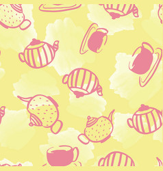 Watercolor teapot seamless pattern design vector