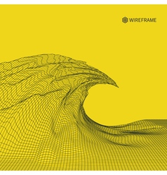 Wavy grid background 3d vector