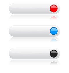 White buttons with colored circles menu interface vector