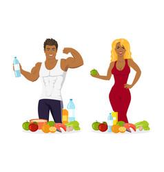 woman and man bodybuliders eating healthy food vector image