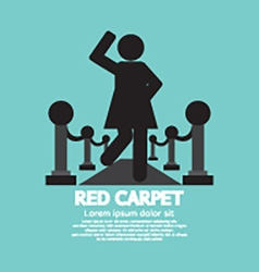 Woman walking on red carpet symbol vector