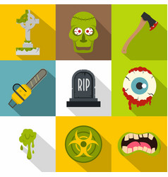 zombie grave icon set flat style vector image