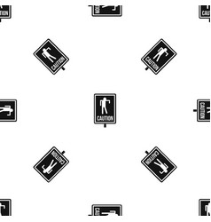 Zombie road sign pattern seamless black vector