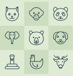 Zoo icons set collection of serpent baboon vector
