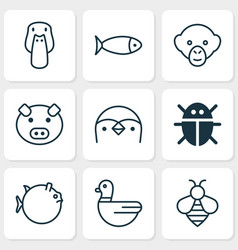 Zoology icons set collection fish duck goose vector