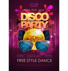 Disco background Disco party poster vector image vector image