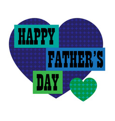 happy fathers day with blue polka dot heart vector image vector image