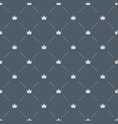 luxury seamless pattern with white crowns on gray vector image