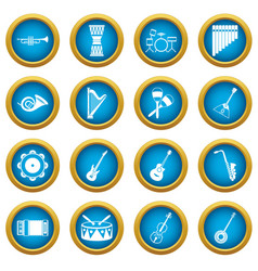 musical instruments icons blue circle set vector image