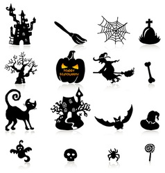 Set of 16 Halloween icons with reflection on white vector image vector image