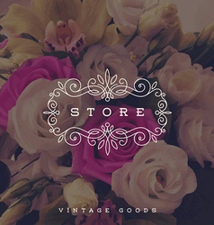 Store logo template with calligraphic frame vector